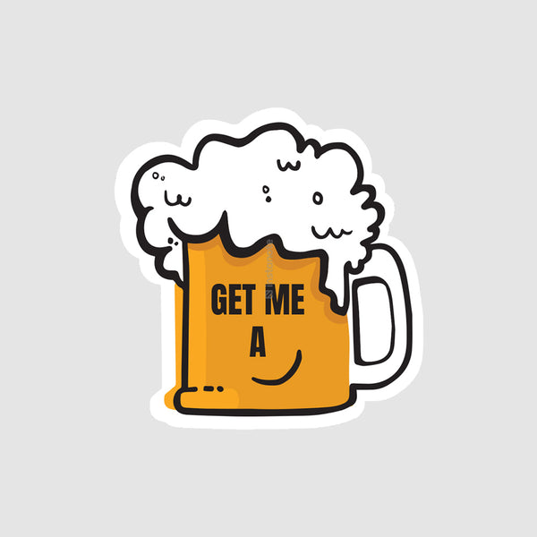 get me a beer  removable vinyl sticker for mobile phone cover laptop