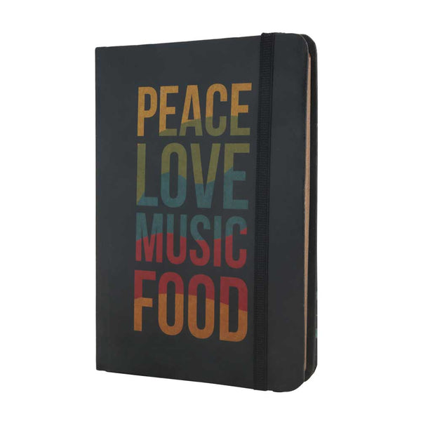 InstaNote Handmade Sketchbook for Artists - Hardbound Cover Indian Khakhi A6 112 Pages Inside (Peace Love Music Food)