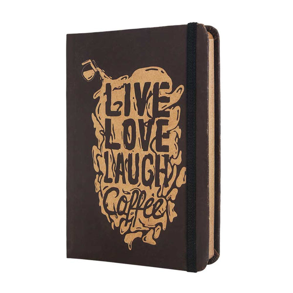InstaNote Handmade Sketchbook for Artists - Hardbound Cover Indian Khakhi A6 112 Pages Inside (Live Laugh Coffee)
