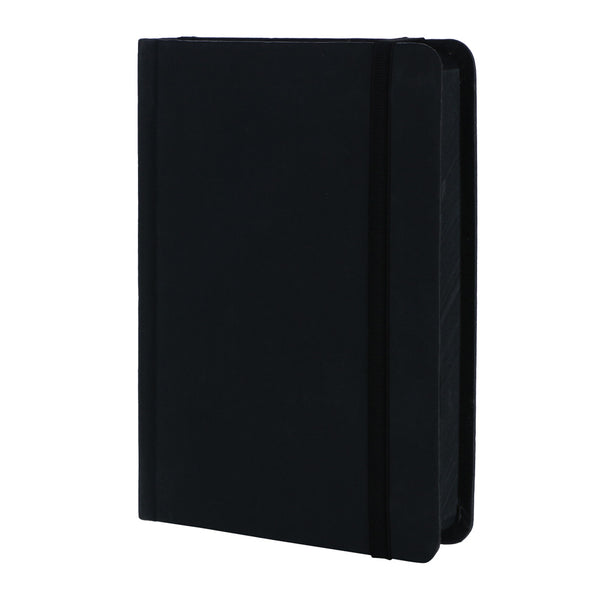 notebook with black pages inside