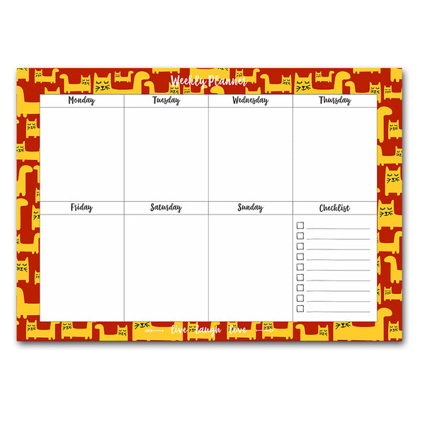 Cat Edition Red Pattern Weekly Planner Pad  A4 Size 54 Pages