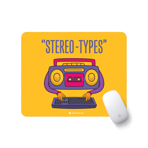 Stereo Types - Buy Rubber base Mouse pad for your PC Laptop Online Mousepad for PC Laptop in India Instanote