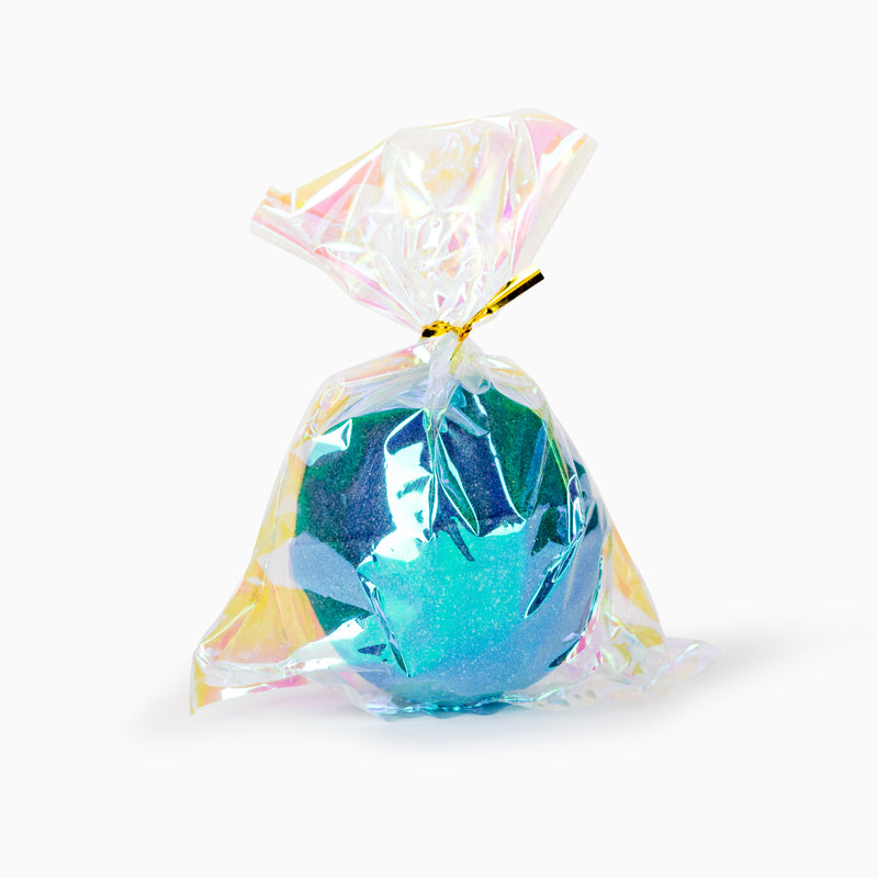 Cait and Co bath bombs come with an iridescent bag and gold twist tie