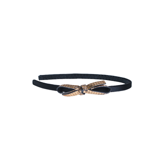 1/4 Inch Wide Black Headband with Gold Bow-ProductPro-Mercantile Americana