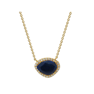 "18k Gold Plated Sterling Silver Natural Sapphire Corundum & Cubic Zirconia Pendant Necklace, 15.5""-ProductPro-Mercantile Americana"