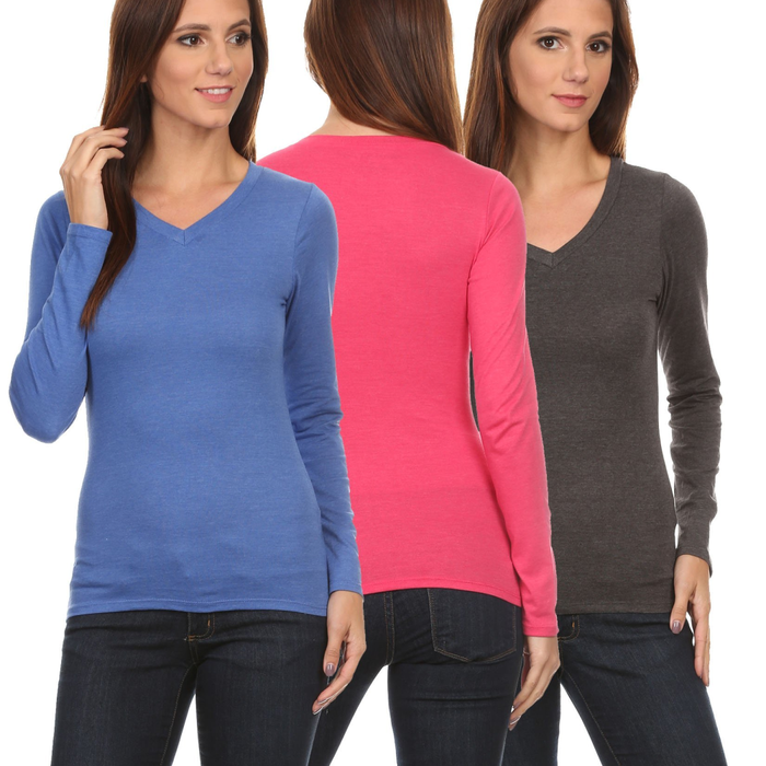 3 Pack Women's Long Sleeve Shirt V-Neck Slim Fit: ROYAL/FUCHSIA/CHARCOAL