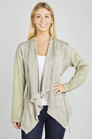 Washed Flutter Cardigan-I Too Fashion-Mercantile Americana