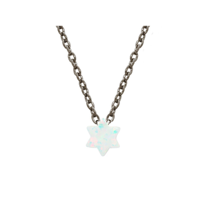 "925 Black Rhodium Plated Silver Mini Opal Stone Star of David Necklace, 15"" + 2""ext-ProductPro-Mercantile Americana"