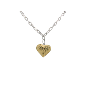 925 Sterling Silver Oval Link Hammered Gold Heart Pendant Necklace-ProductPro-Mercantile Americana