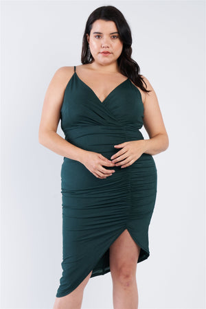 Plus Size A-symmetrical Scrunch Dress-Mercantile Americana-Mercantile Americana