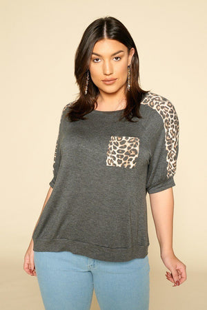 Plus Size Cute Animal Print Pocket French Terry Casual Top-Mercantile Americana-Mercantile Americana