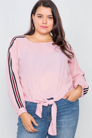 Plus Size Color Block Sleeve Front Knot Semi-sheer Top-Mercantile Americana-Mercantile Americana
