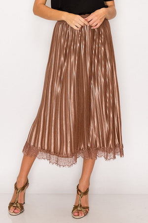 Lace Trim Accordion Pleated Midi Skirt-Mercantile Americana-Mercantile Americana