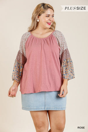 Sheer Mixed Floral Print Bell Sleeve Round Neck Top-Mercantile Americana-Mercantile Americana
