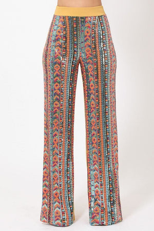 High Waist Colorful Sequins Pattern Pants-Mercantile Americana-Mercantile Americana