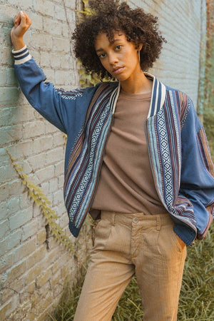 A Woven Jacket That Features Tribal Striped Accents-Mercantile Americana-Mercantile Americana
