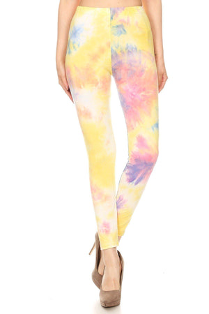 Tie Dye Printed, Full Length, High Waisted Leggings In A Fitted Style With An Elastic Waistband-Mercantile Americana-Mercantile Americana