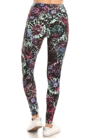 5-inch Long Yoga Style Banded Lined Tie Dye Printed Knit Legging With High Waist.-Mercantile Americana-Mercantile Americana