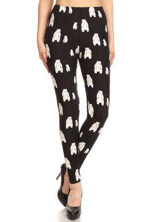 Polar Bear Print, High Waisted Full Length Leggings With An Elastic Band.-Mercantile Americana-Mercantile Americana