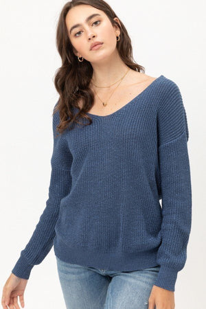 Twisted Back Light Weight Metallic Sweater-Mercantile Americana-Mercantile Americana