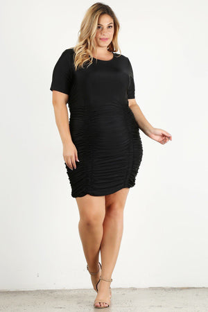 Plus Size Solid Bodycon Mini Dress-Mercantile Americana-Mercantile Americana