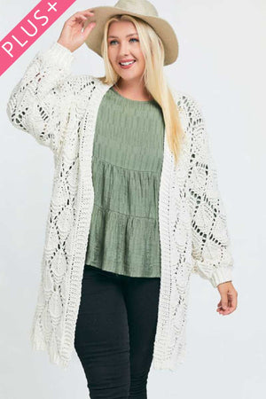 Textured Long Sleeve Long Cardigan-Mercantile Americana-Mercantile Americana