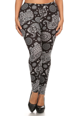Plus Size Elephant Print, Full Length Leggings In A Slim Fitting Style With A Banded High Waist-Mercantile Americana-Mercantile Americana