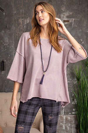 3/4 Slvs Mineral Washed Terry Knit Boxy Top-Mercantile Americana-Mercantile Americana