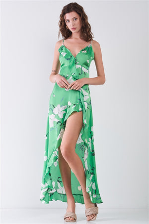Satin Floral Print Sleeveless V-neck Self-tie Back Ruffle Trim Side Slit Detail Maxi Dress