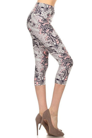 Multi Printed High Waisted Capri Leggings