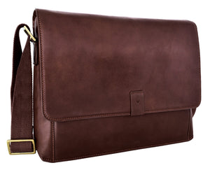 Aiden Leather Business Laptop Messenger Cross Body Bag-Hidesign-Mercantile Americana
