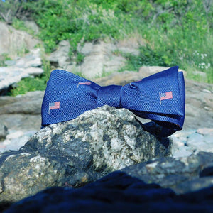 American Flag Bow Tie - Navy, Woven Silk-SummerTies-Mercantile Americana