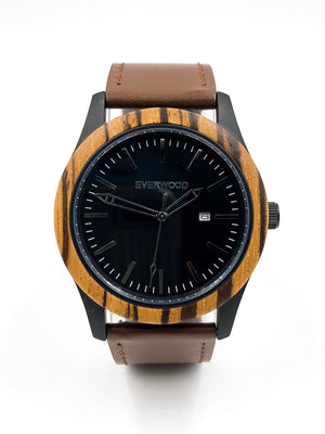 Inverness | Zebrawood | Brown Leather-Everwood Watch Company-Mercantile Americana