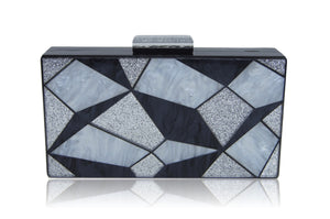 Black 3D Geometric Acrylic Box Clutch-Milanblocks-Milanblocks-Mercantile Americana