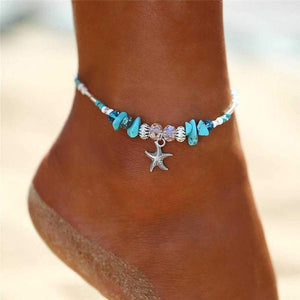 Boho Crystal Starfish Anklet Ankle Bracelet-Fashion Hut Jewelry-Mercantile Americana