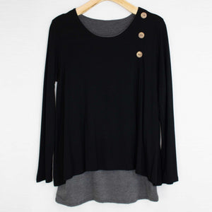 Button Detail Layered Top Black-Stylespect-Mercantile Americana