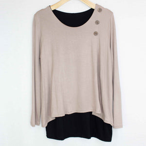 Button Detail Layered Top Mocha-Stylespect-Mercantile Americana