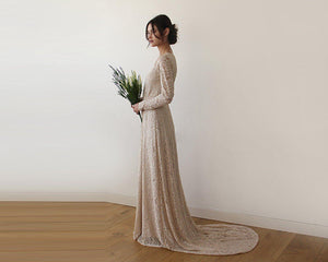 Champagne Wrap Floral Lace Long Sleeve Gown with a Train 1151-Blushfashion-Mercantile Americana