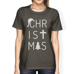 Christmas Letters Womens Dark Grey Shirt-TSF Design-Mercantile Americana