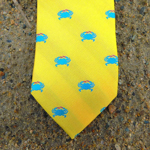 Crab Necktie - Yellow, Woven Silk-SummerTies-Mercantile Americana