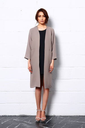 Embrace Nature Long Coat In Beige-Lagerose-Mercantile Americana