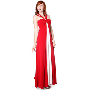 Evanese Women's Elegant Cross Tie Halter Long Formal Party Dress with Contrast-Evanese Inc-Mercantile Americana