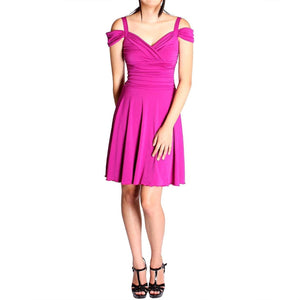 Evanese Women's Elegant Slip On A Line Short Cocktail Dress with Shoulder Bands-Evanese Inc-Mercantile Americana