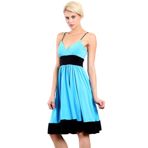 Evanese Women's Fashion Color Blocking Jersey Casual Cocktail Party Dress-Evanese Inc-Mercantile Americana