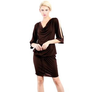Evanese Women's Sexy Cowlneck Day Work Weekend Cocktail Dress with Slit-Sleeves-Evanese Inc-Mercantile Americana