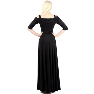 Evanese Women's Slip on Formal Long Eveing Party Dress Gown with 3/4 Sleeves-Evanese Inc-Mercantile Americana