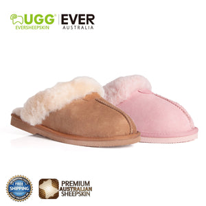 EVER UGG Unisex Scuff/Slippers, Genuine Sheepskin Lining, Suede Upper-UGG Express-Mercantile Americana