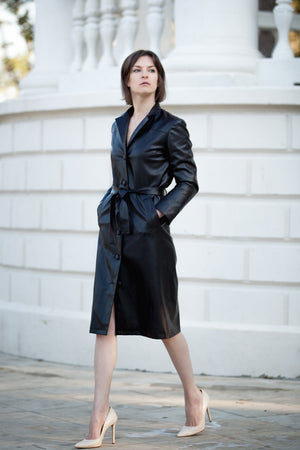 FAUX LEATHER MIDI COAT WITH BELT-2KStyle-Mercantile Americana