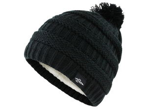 Fear0 Plush Insulated Extreme Cold Gear Black Knit Pom Beanie Hat Womens Girls-Fear0 Footwear/Apparel-Mercantile Americana