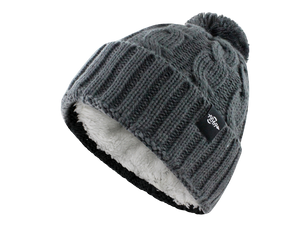 Fear0 Plush Insulated Extreme Cold Gear Womens Black Cuff Knit Pom Beanie Hat-Fear0 Footwear/Apparel-Mercantile Americana